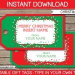 Christmas Gift Tag Template | Printable Christmas Gift Tags   Free Printable Editable Christmas Gift Tags