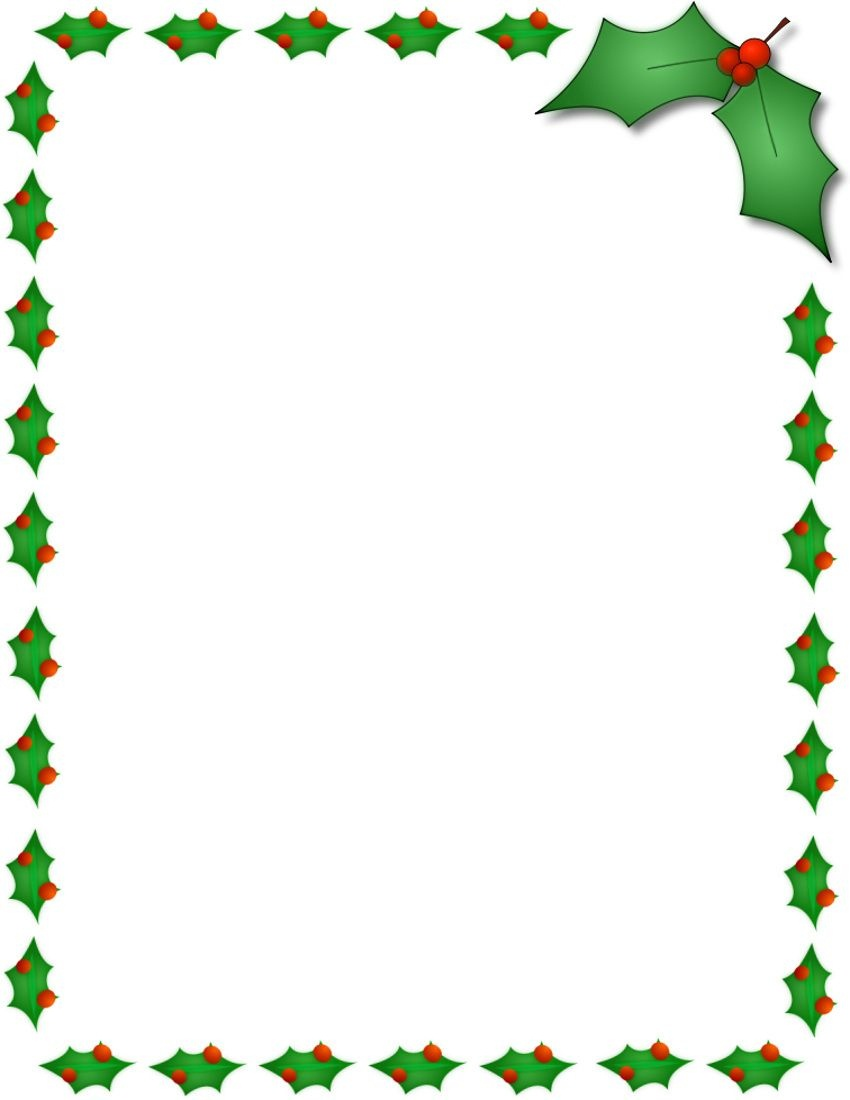 Christmas Holly Border Page Public Domain Clip Art Image Wpclipart - Free Printable Christmas Frames And Borders