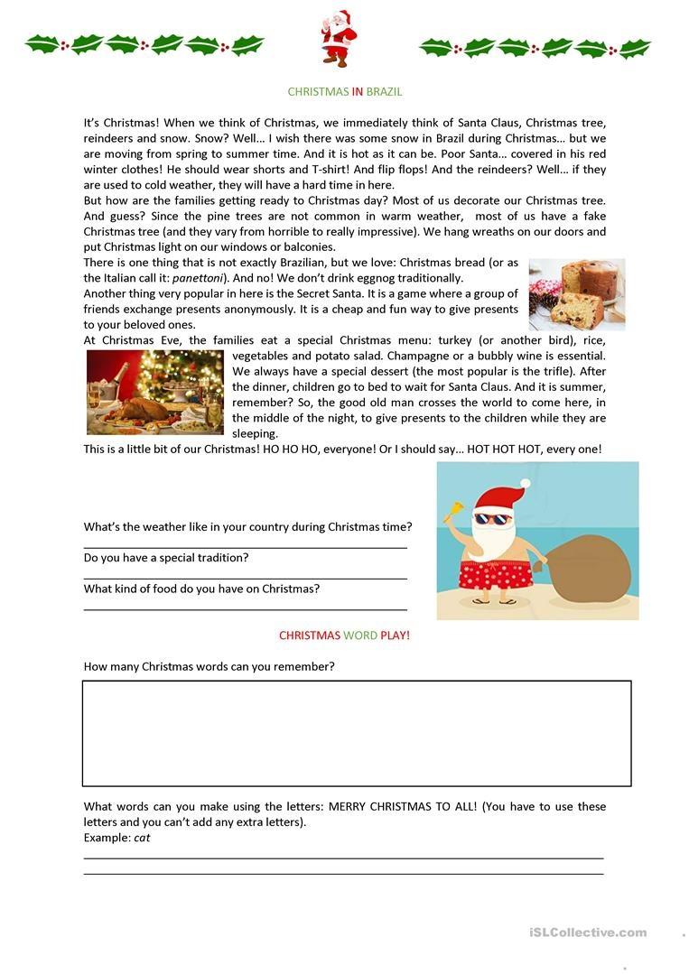 Christmas In Brazil Worksheet Worksheet - Free Esl Printable - Brazil Worksheets Free Printables