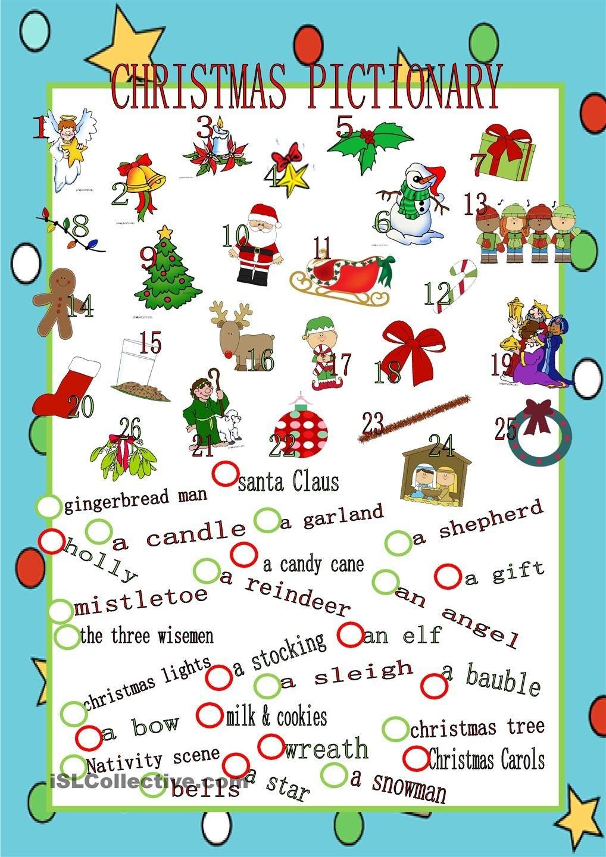 Christmas Pictionary | Christmas Party Games & Food | English - Free Printable Christmas Pictionary Words