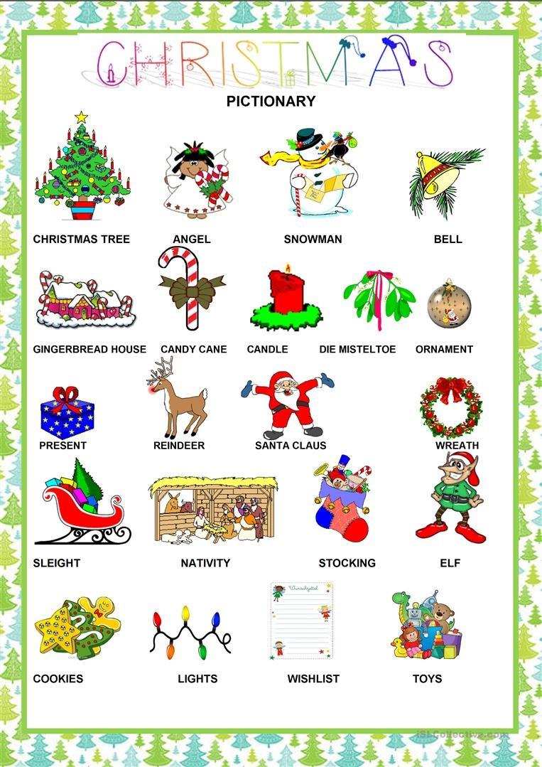 Christmas - Pictionary Worksheet - Free Esl Printable Worksheets - Free Printable Christmas Pictionary Words