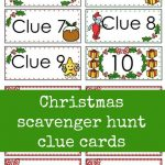 Christmas Scavenger Hunt Free Printable Clue Cards For Kids | Aaa   Free Online Printable Christmas Games For Adults