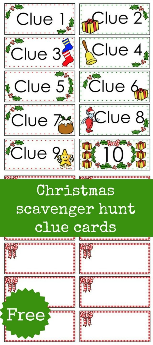 Christmas Scavenger Hunt Free Printable Clue Cards For Kids | Aaa - Free Online Printable Christmas Games For Adults