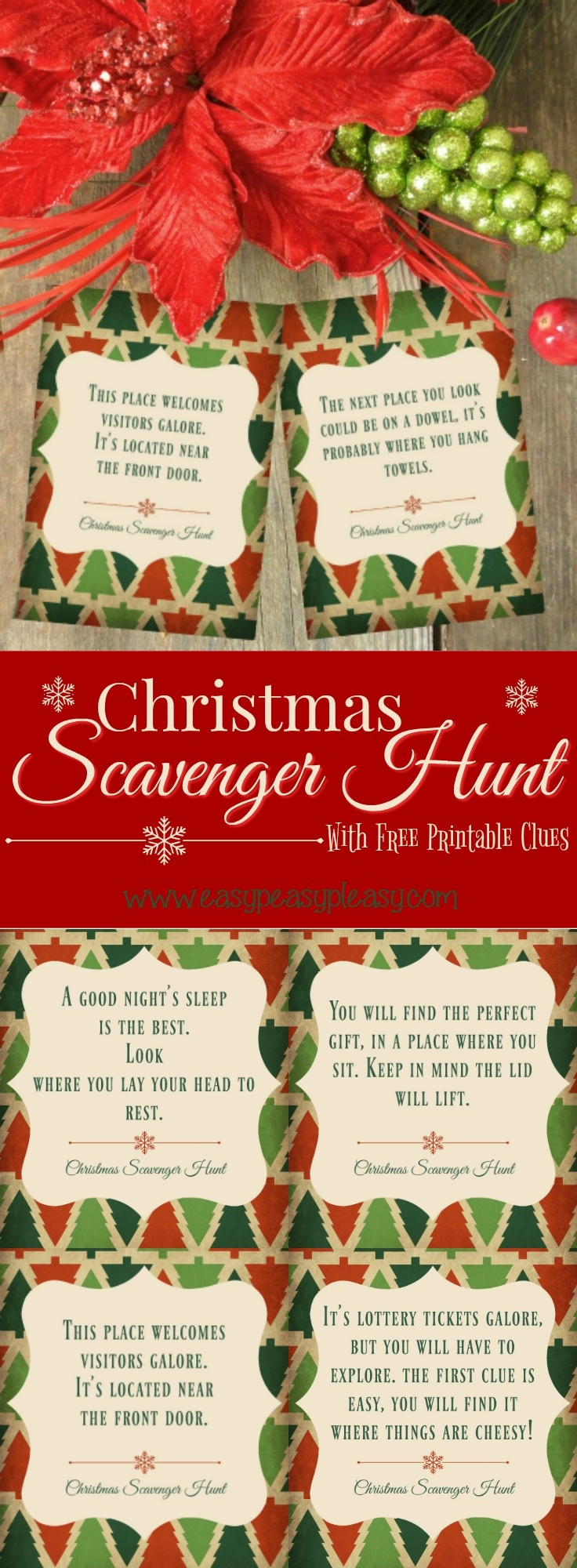 Christmas Scavenger Hunt With Free Printable Clues - Easy Peasy Pleasy - Free Printable Christmas Treasure Hunt Clues