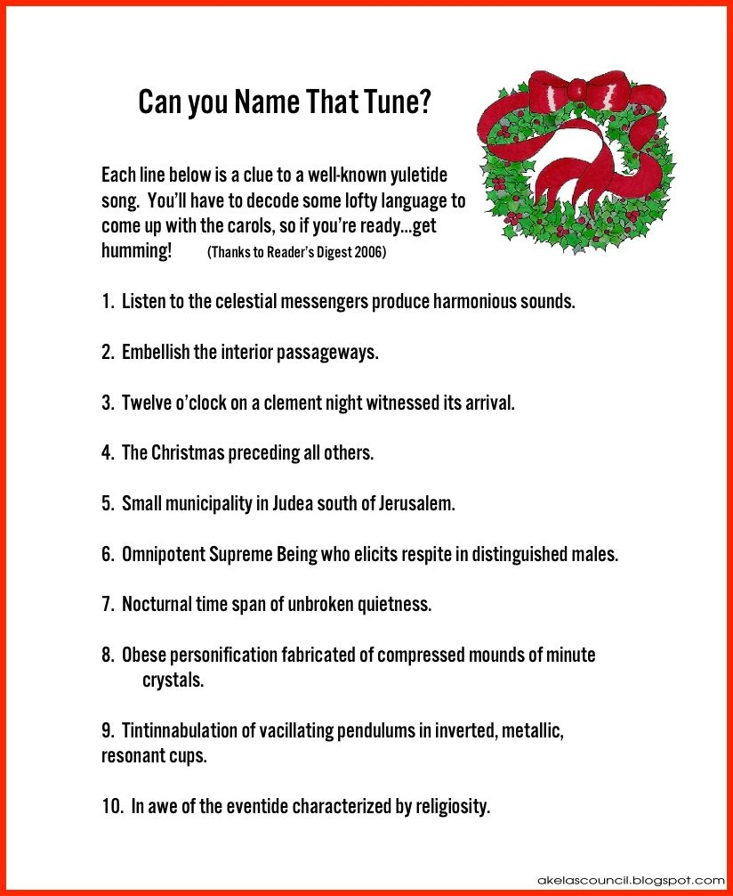 Christmas Song Brain Teasers Printable – Festival Collections - Free Printable Holiday Brain Teasers