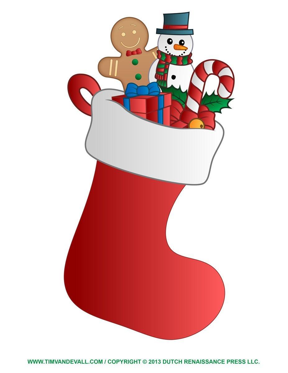 Christmas Stockings Clip Art | Free Christmas Stocking Template - Free Printable Christmas Stocking Template