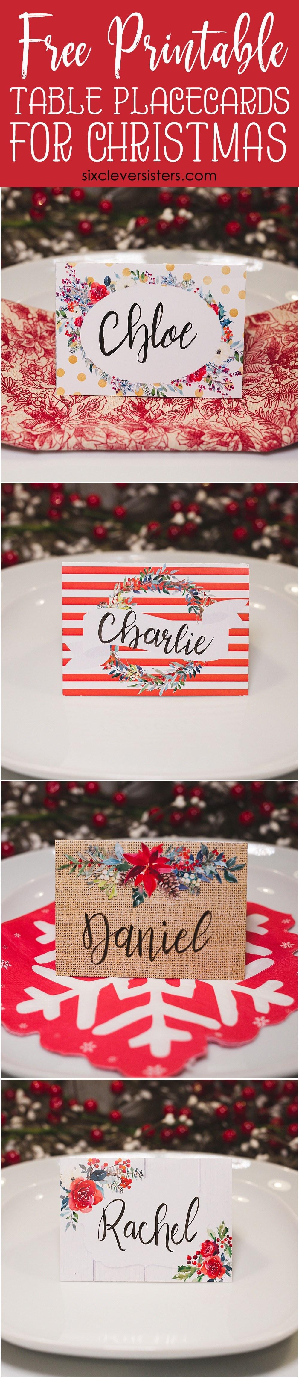 Christmas Table Place Cards { Free Printable} - Six Clever Sisters - Free Printable Christmas Place Name Tags