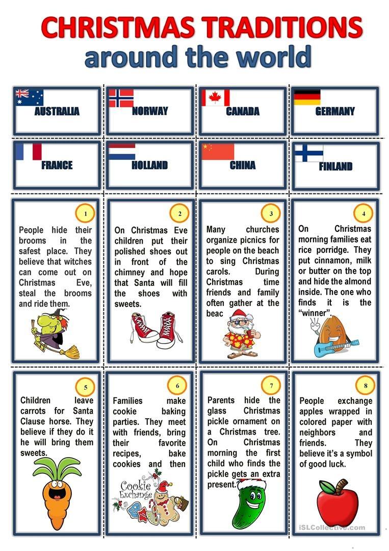 Christmas Traditions Around The World Worksheet - Free Esl Printable - Christmas Around The World Free Printables