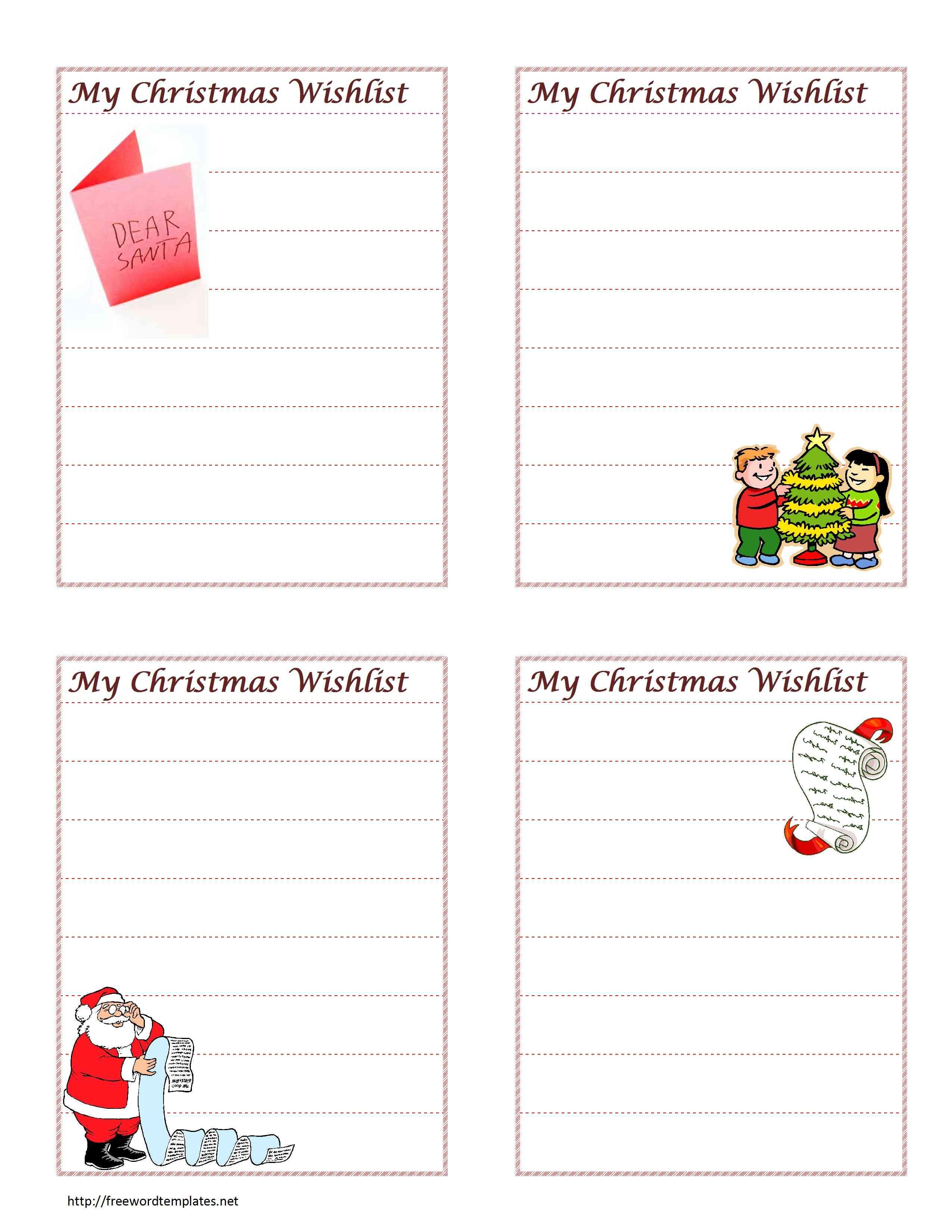 Christmas Wish List - Free Printable Christmas Card List Template