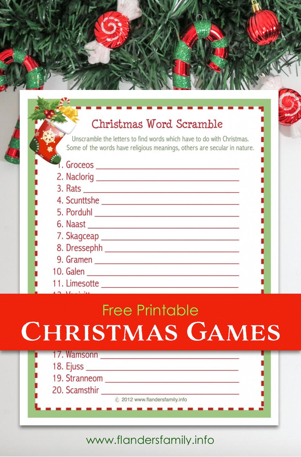 Christmas Word Scramble (Free Printable) - Flanders Family Homelife - Free Printable Religious Christmas Games