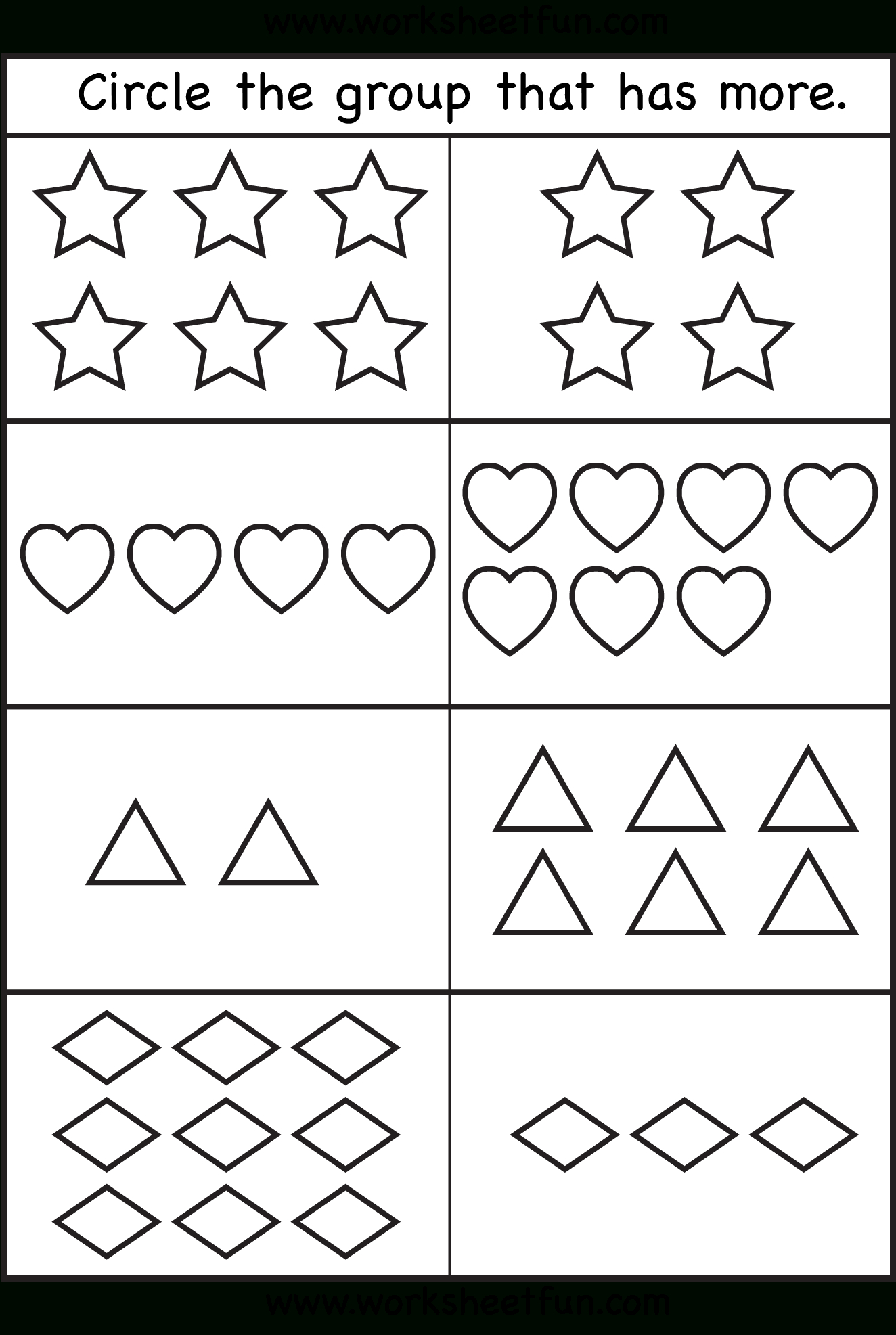 Circle The Group That Has More. | Printable Worksheets - Free Printable Same And Different Worksheets