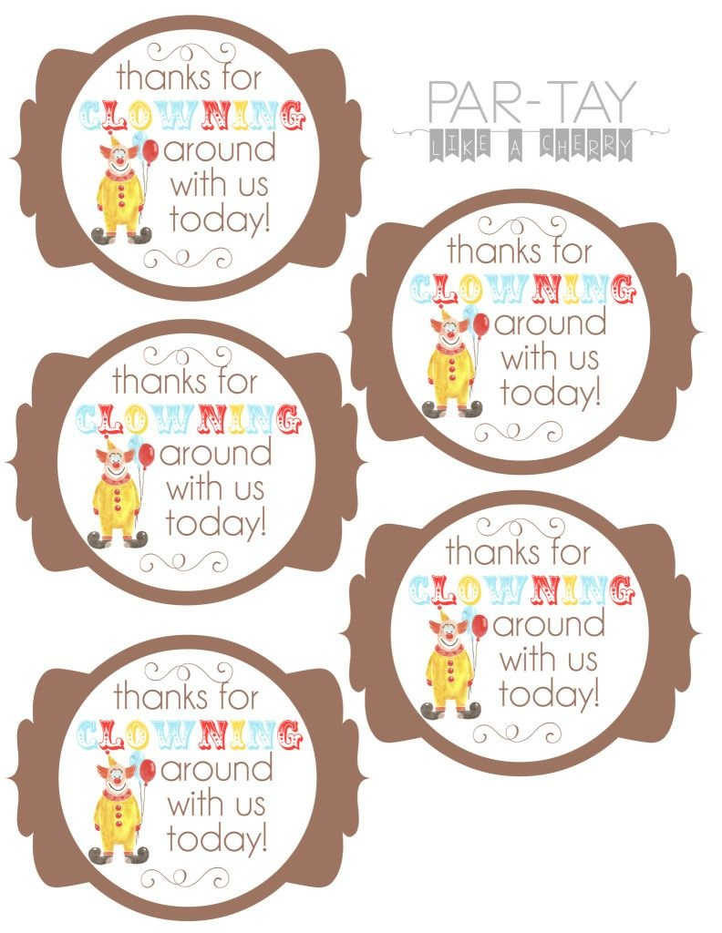Circus Party Favor Tags | Party Like A Cherry | Circus Party Favors - Birthday Party Favor Tags Printable Free