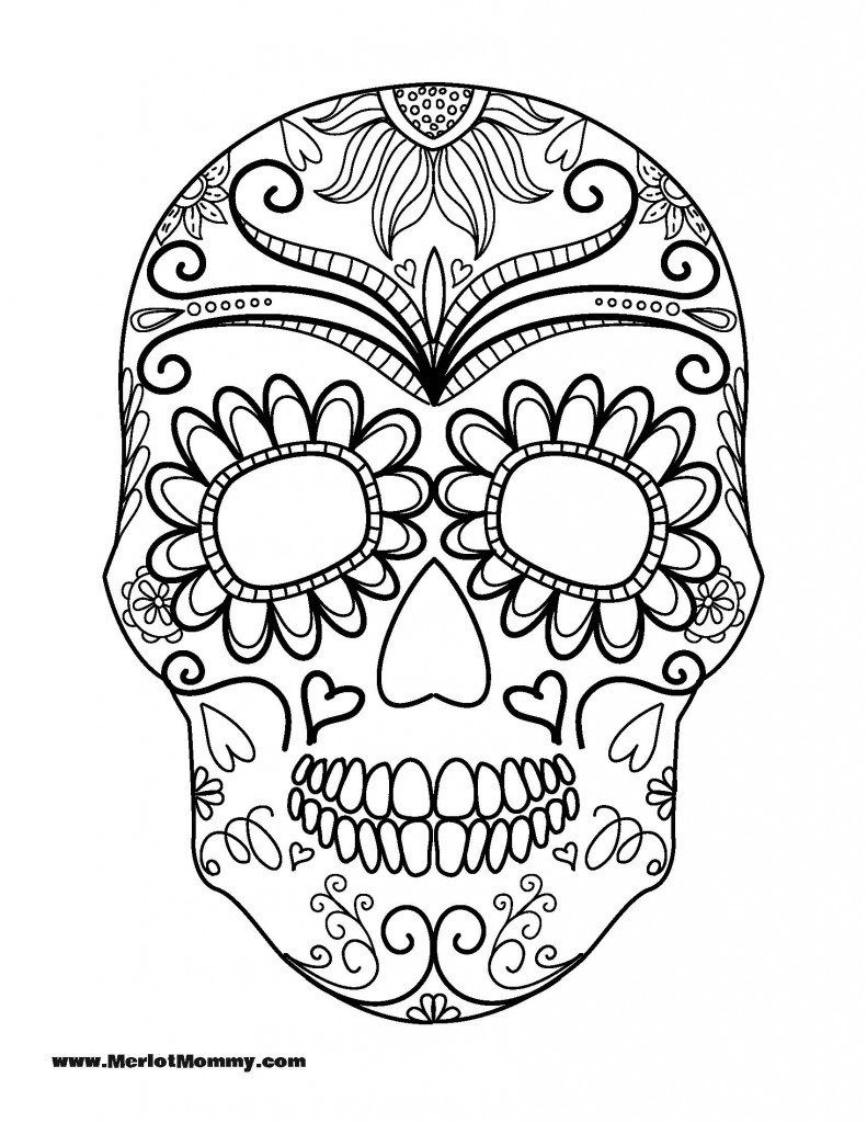 Click Here To Download The Pdf For The Sugar Skull Printable. Sugar - Free Printable Sugar Skull Pumpkin Stencils