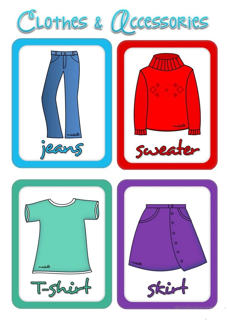 Clothes And Accessories - Flashcards Worksheet - Free Esl Printable - Free Printable Clothing Flashcards