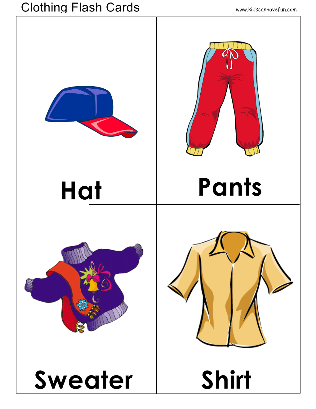 Clothes Flashcards | Flashcards | English Clothes, Clothes Worksheet - Free Printable Clothing Flashcards