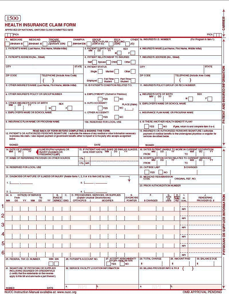 Cms 1500 Claim Form Versions And Tips - Free Printable Cms 1500 Form 02 12