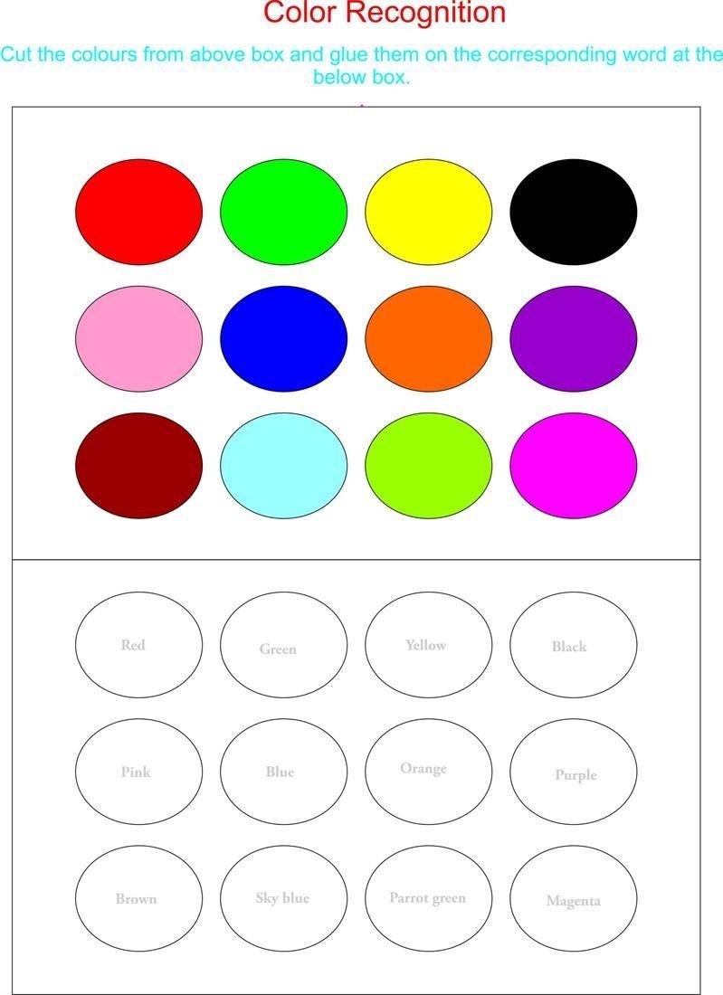 Color Recognition Worksheets For Preschoolers | Working With Colors - Color Recognition Worksheets Free Printable