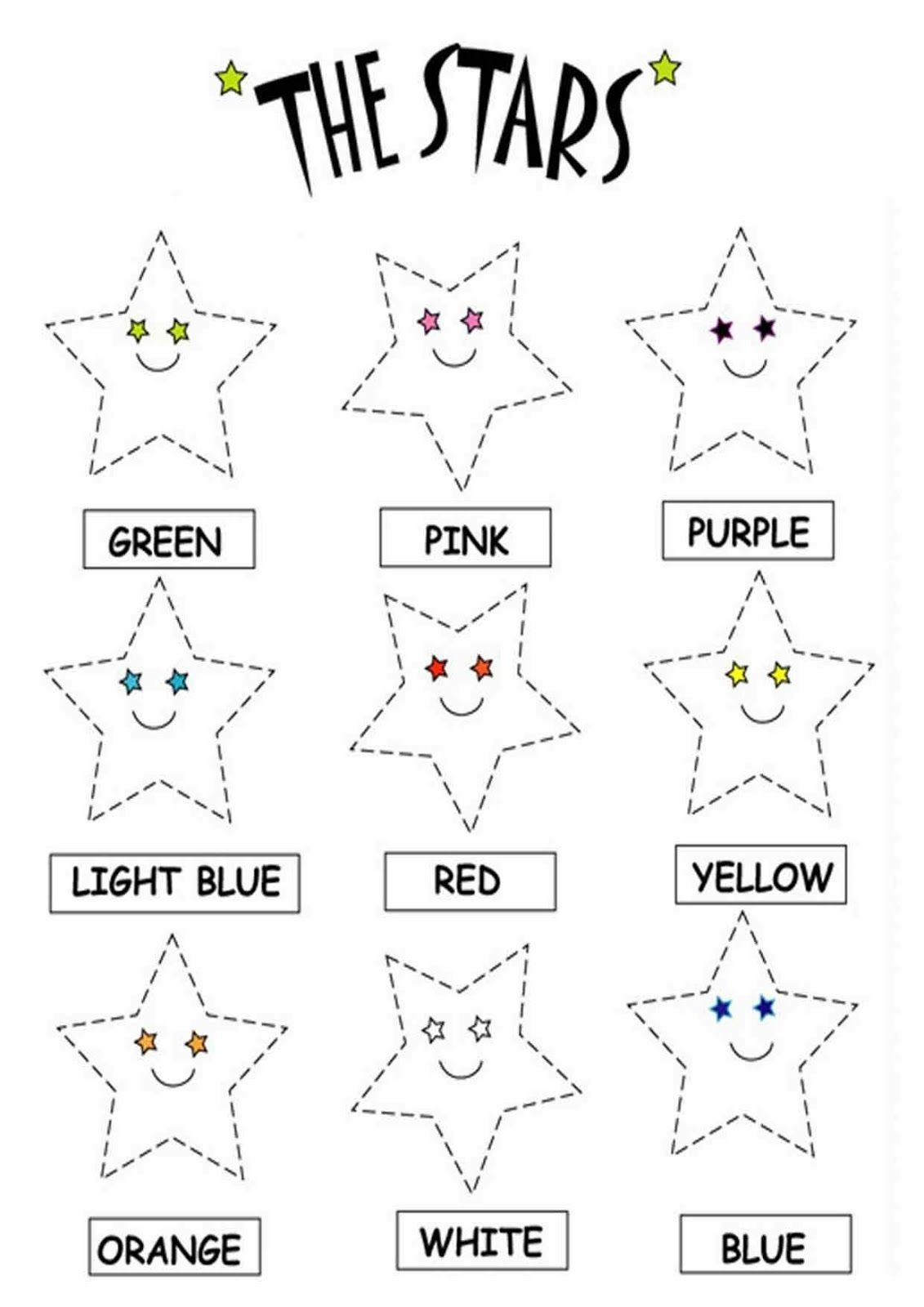 Color The Stars Worksheets. Download Free Printable And Interactive - Colors Worksheets For Preschoolers Free Printables