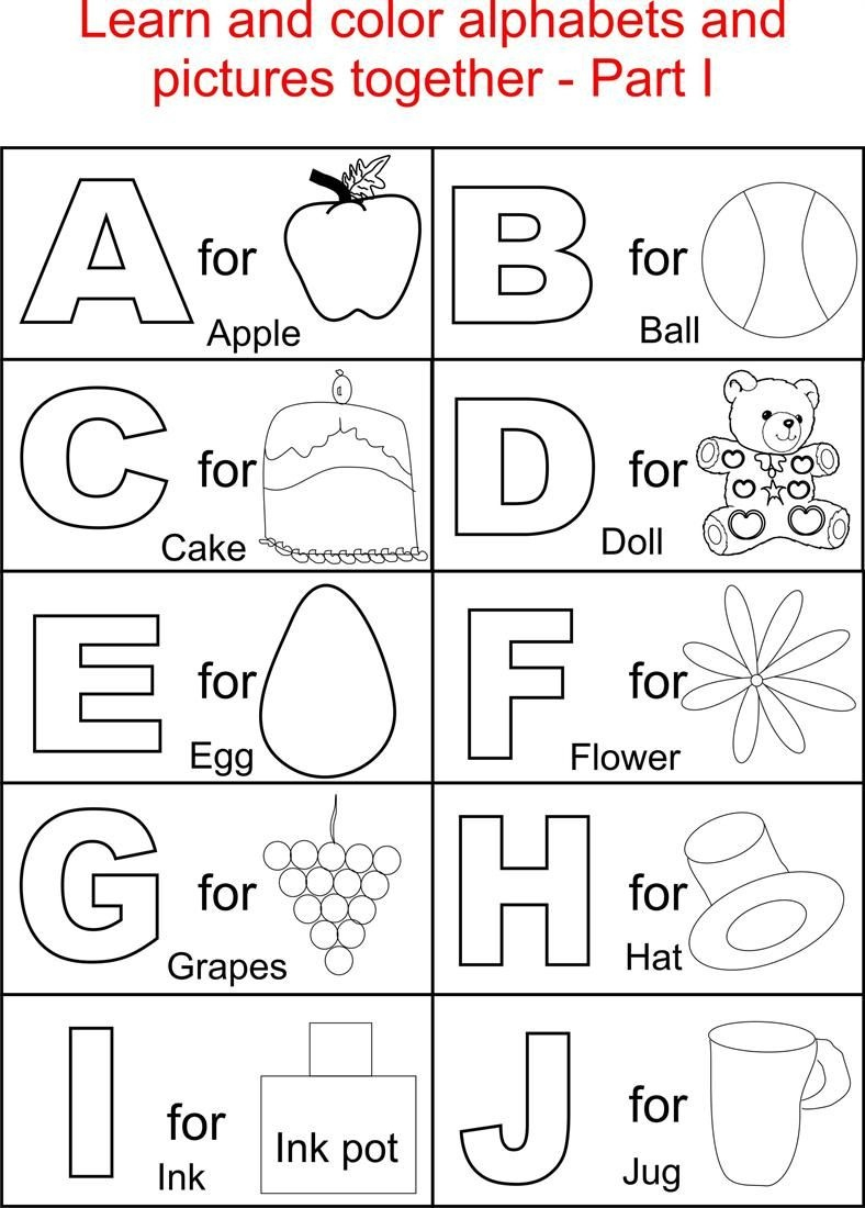 Coloring Book World ~ Alphabet Part I Coloring Printable Page For - Free Alphabet Coloring Printables