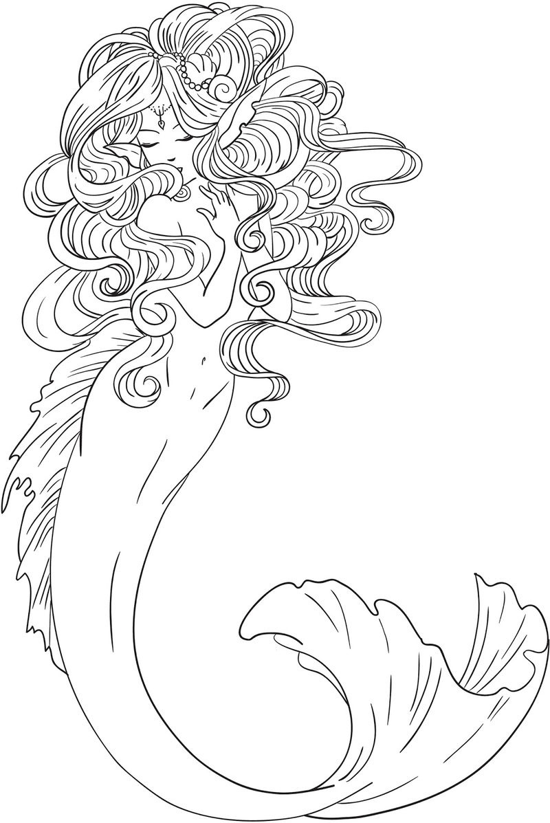 Coloring Book World ~ Printable Mermaid Coloring Pages Free Page - Free Printable Mermaid Coloring Pages For Adults