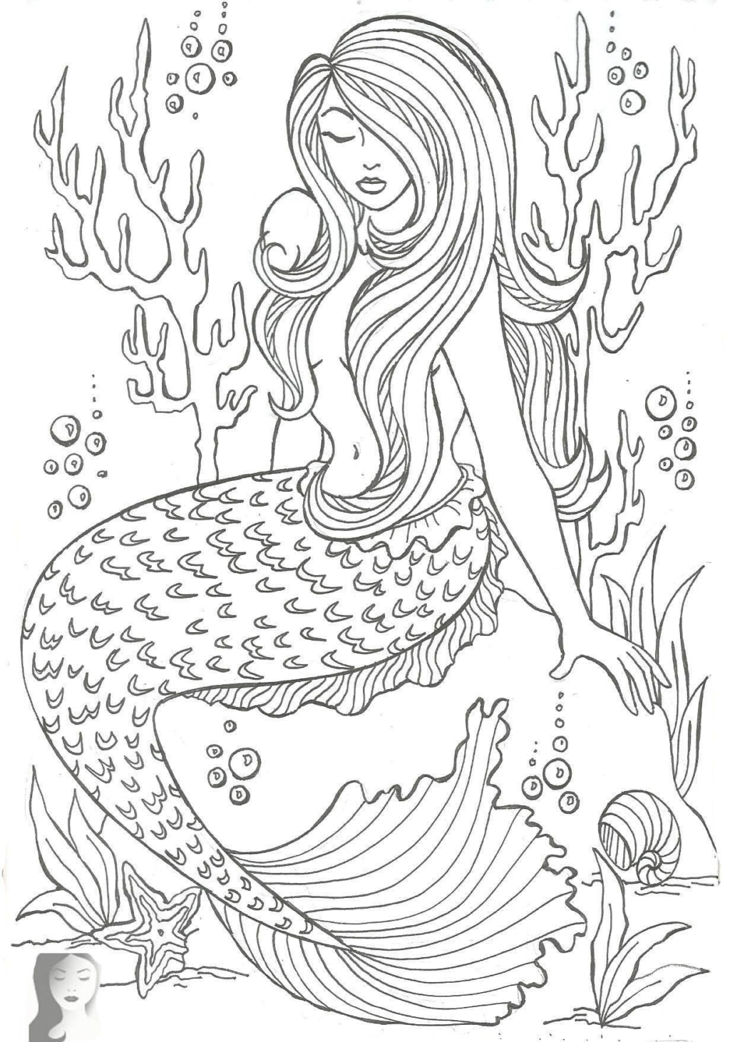 Coloring Book World ~ Printable Mermaid Pictures Real Life Fish - Free Printable Mermaid Coloring Pages For Adults