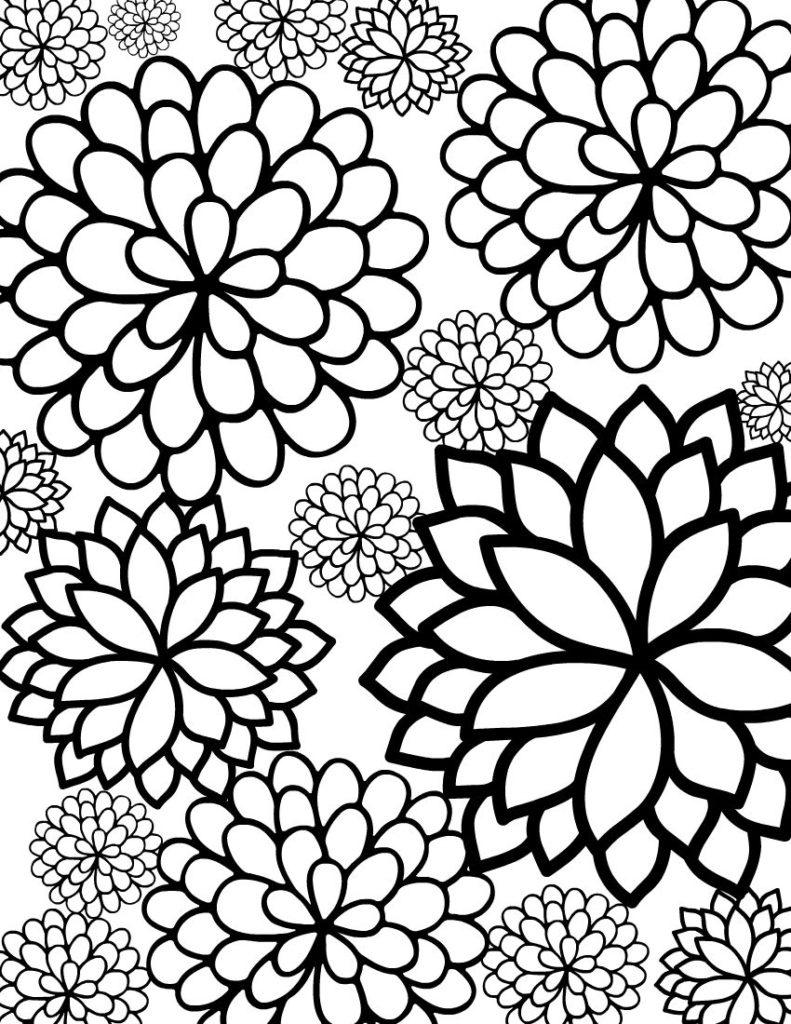 Coloring ~ Flower Adult Coloring Pages Bursting Blossoms Page Free - Free Printable Flower Coloring Pages For Adults