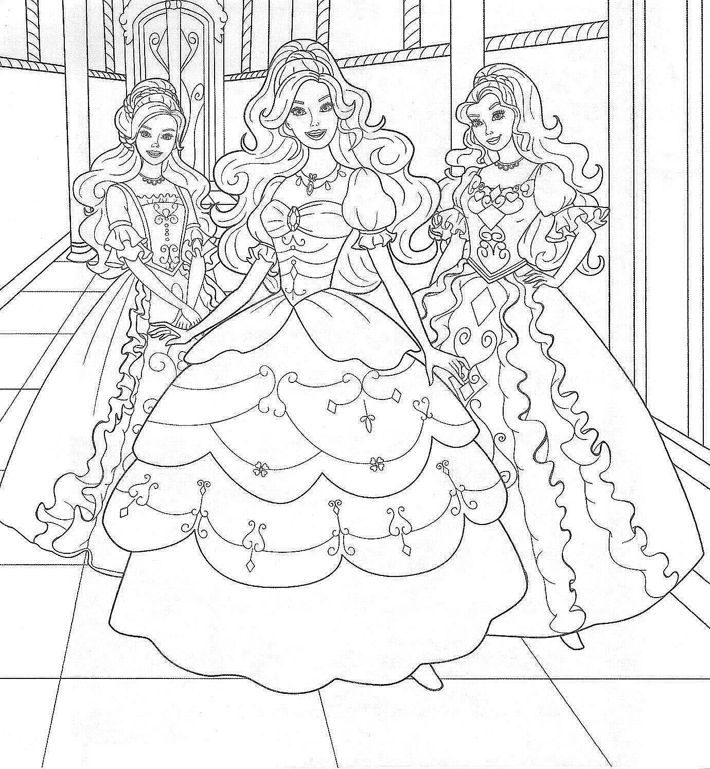 Coloring Ideas : Barbie Coloring Pages Girls Three Princess1 - Free Printable Barbie Coloring Pages