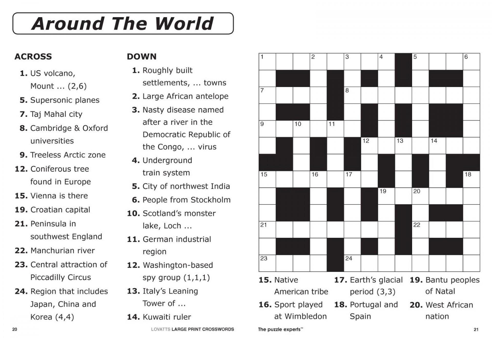Coloring ~ Large Print Crosswordsthomas Joseph Printable - Free Printable Crosswords Medium