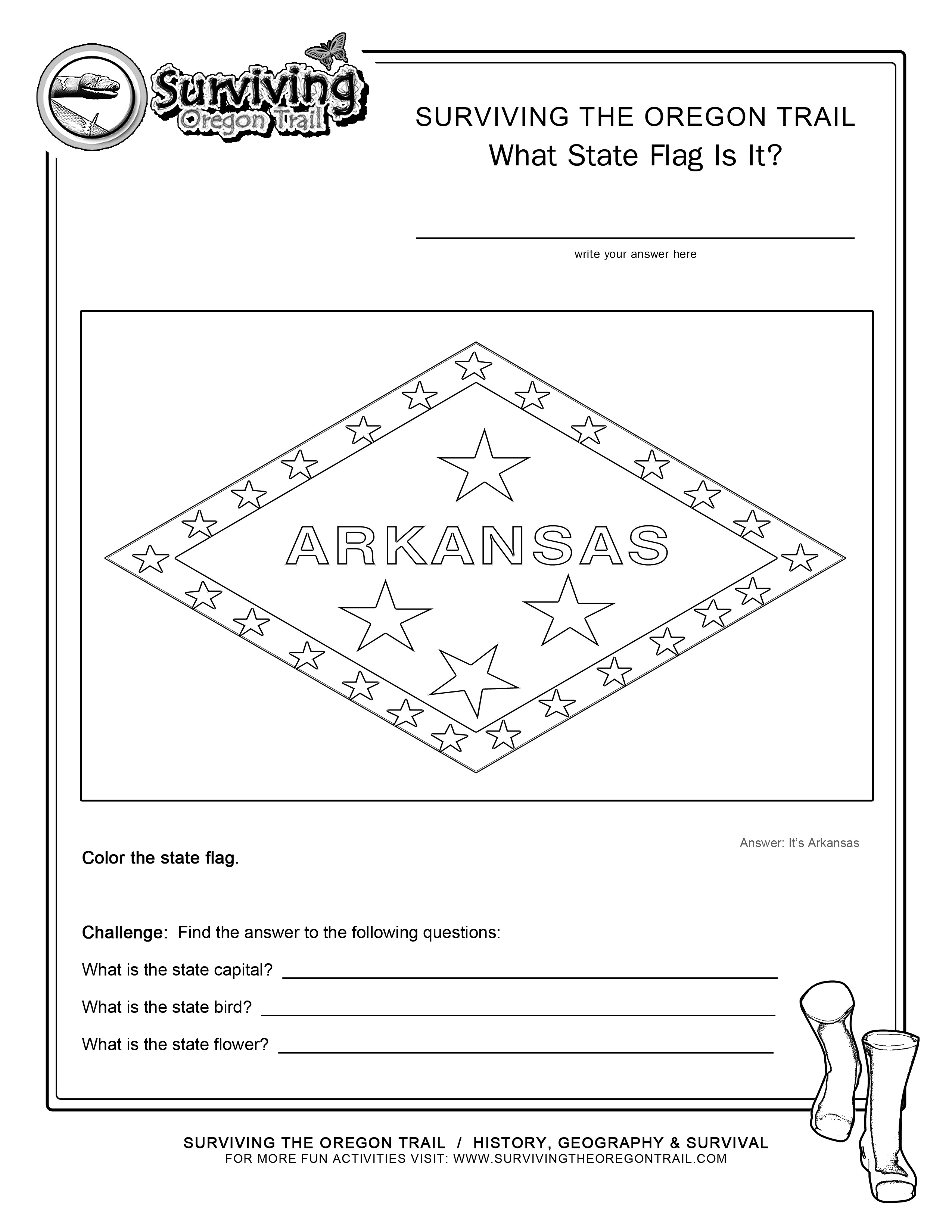 Coloring Page State Flag Arkansas Printable Worksheet – Surviving - Free Printable Arkansas History Worksheets