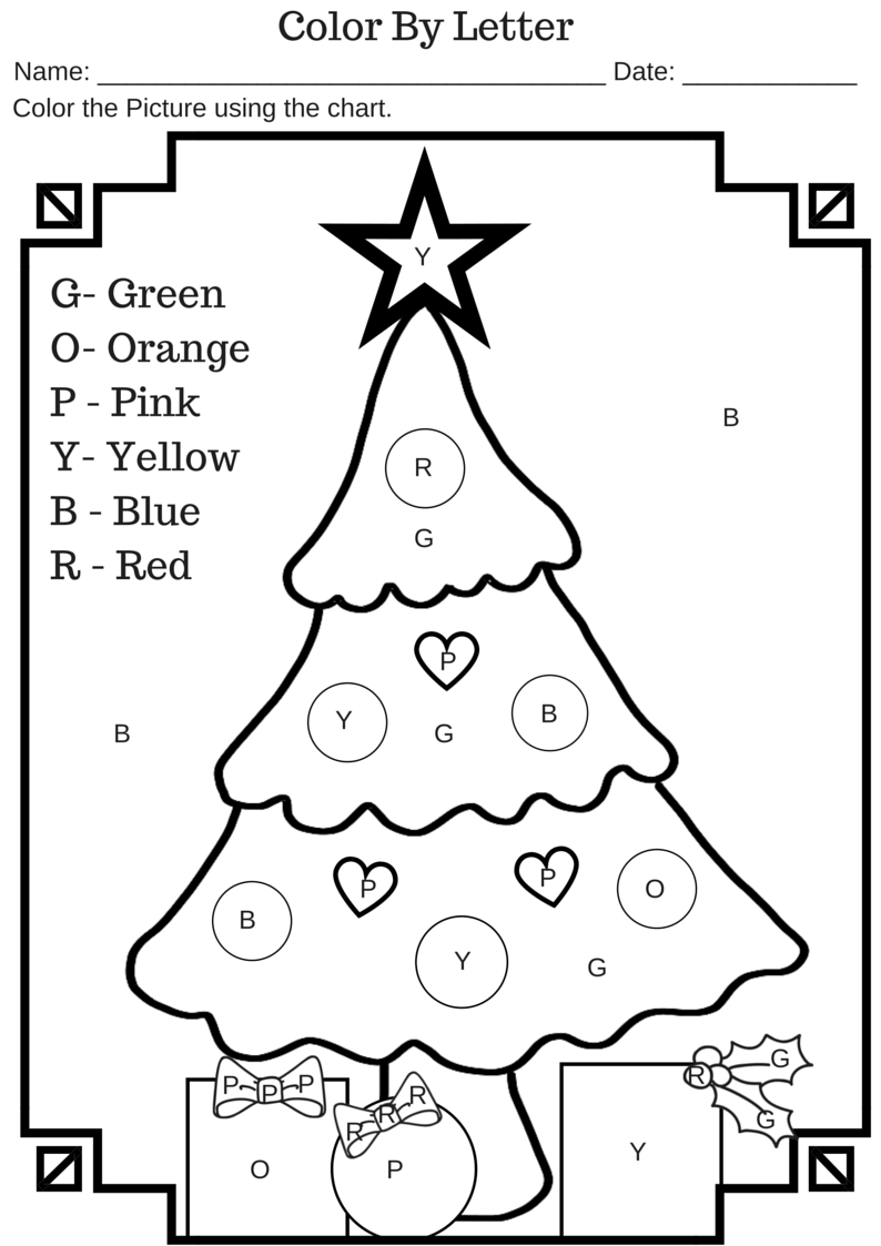 Colorletter Christmas Tree Free Printable Worksheet | Activities - Christmas Pictures To Color Free Printable