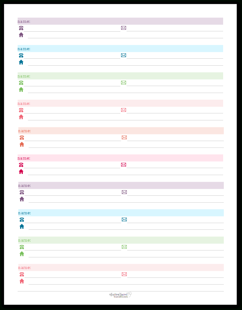 Colourful Address Book And Password Log Printables | Organizing Tips - Free Printable Address Book