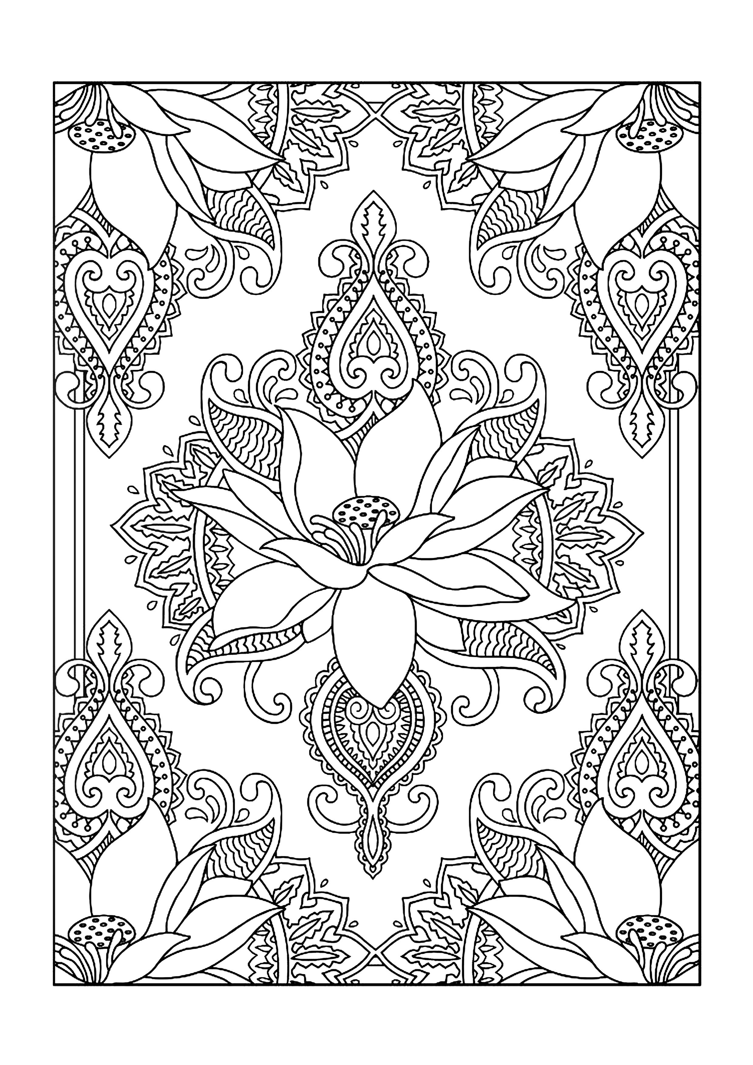 Colouring Books - Free Printable A4 Size - Lotus Flower // Imagenes - Free Printable Coloring Designs For Adults