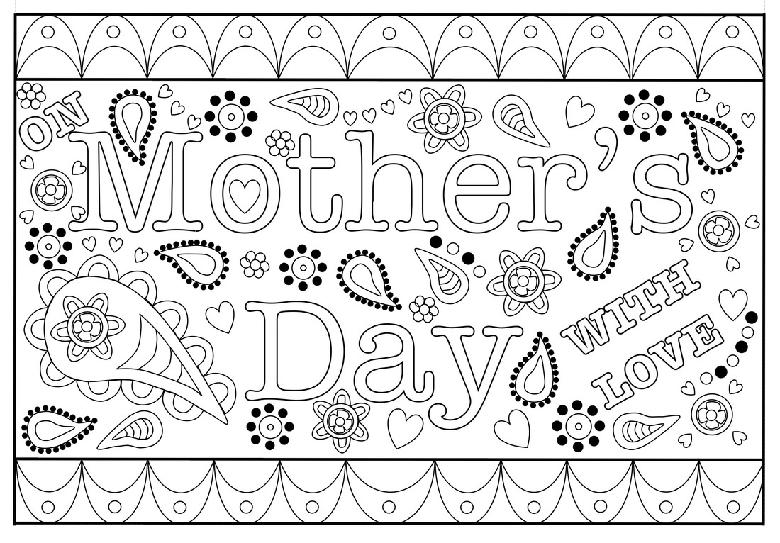 Colouring Mothers Day Card Free Printable Template - Free Printable Mothers Day Cards From The Dog