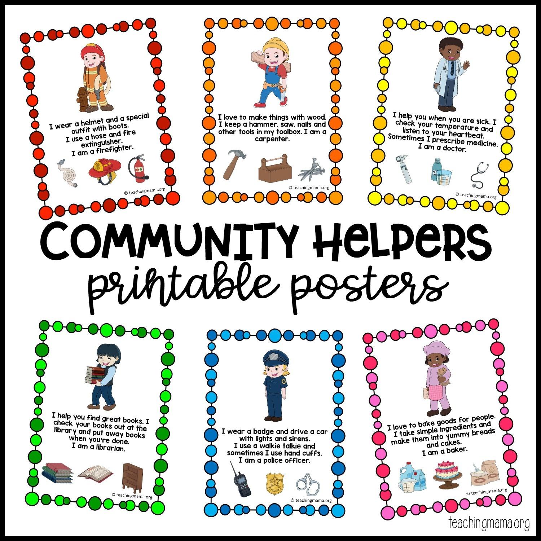 Community Helpers Printable Posters - Teaching Mama - Free Printable Music Posters