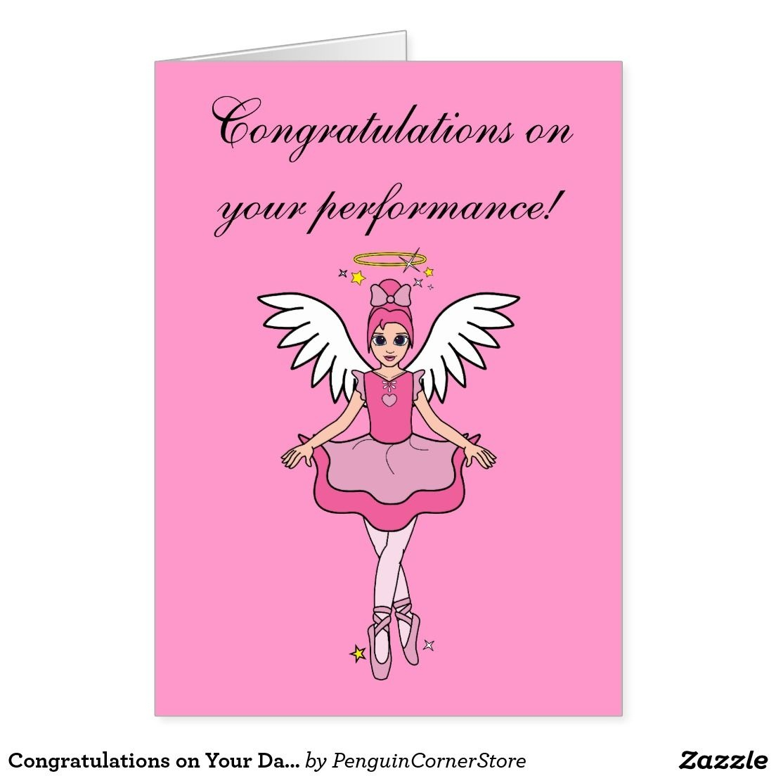 Congratulations On Your Dance Recital Angel Card | Customizable - Free Printable Dance Recital Cards