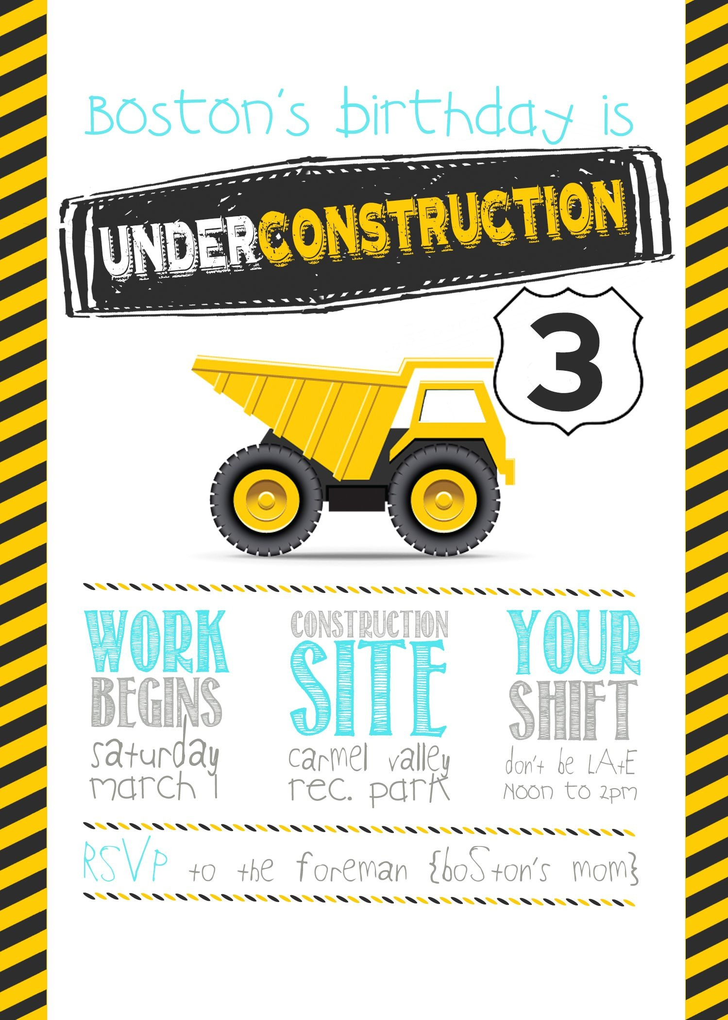 Construction Birthday Party With Free Printable Birthday Party - Free Printable Construction Invitations