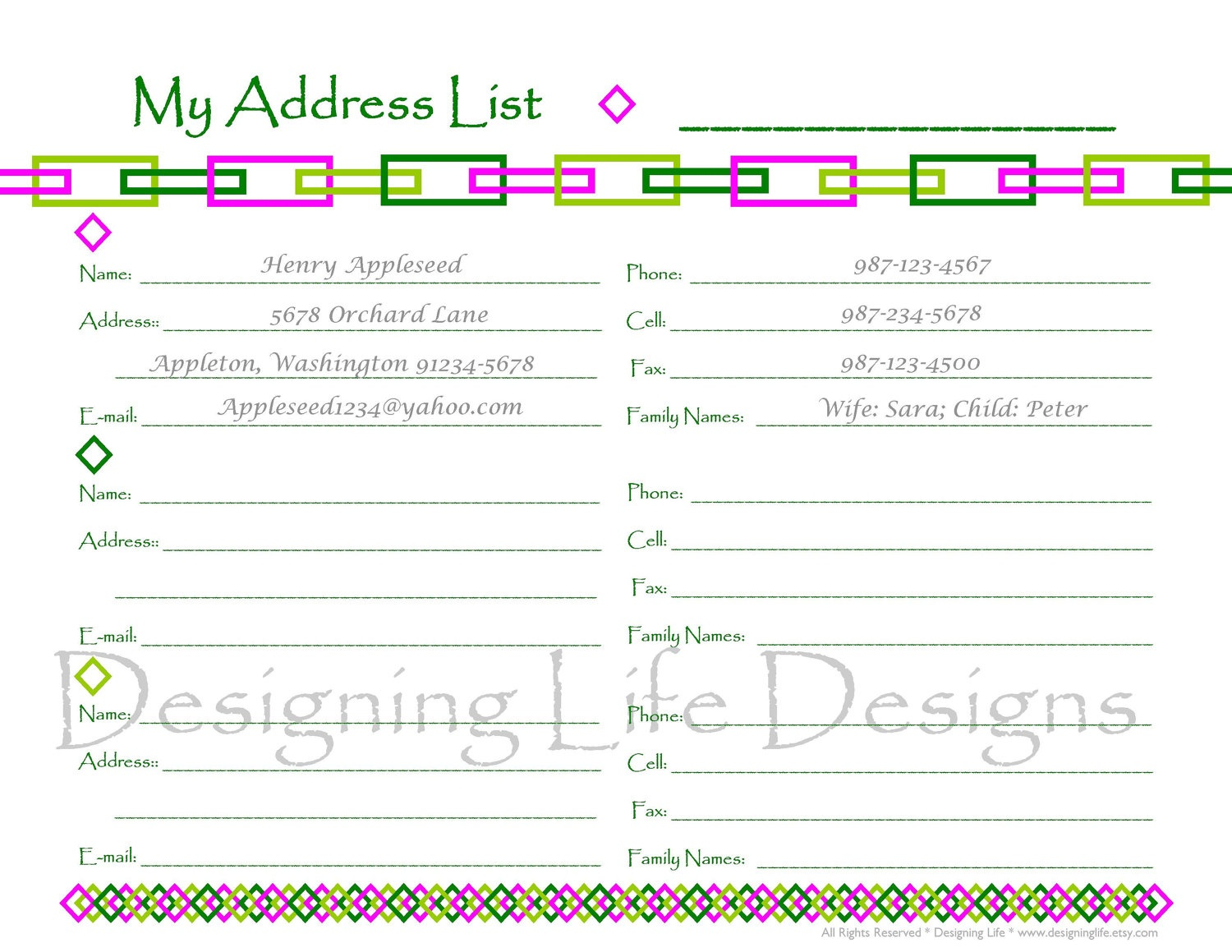 Contact Book Template - Resumepages.gq - Free Printable Blank Address Book Pages