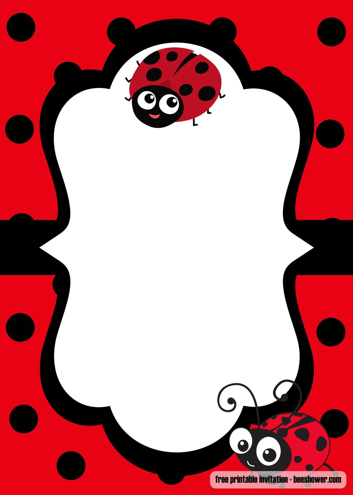 Cool Free Printable Ladybug Baby Shower Invitations Templates - Free Printable Ladybug Stationery
