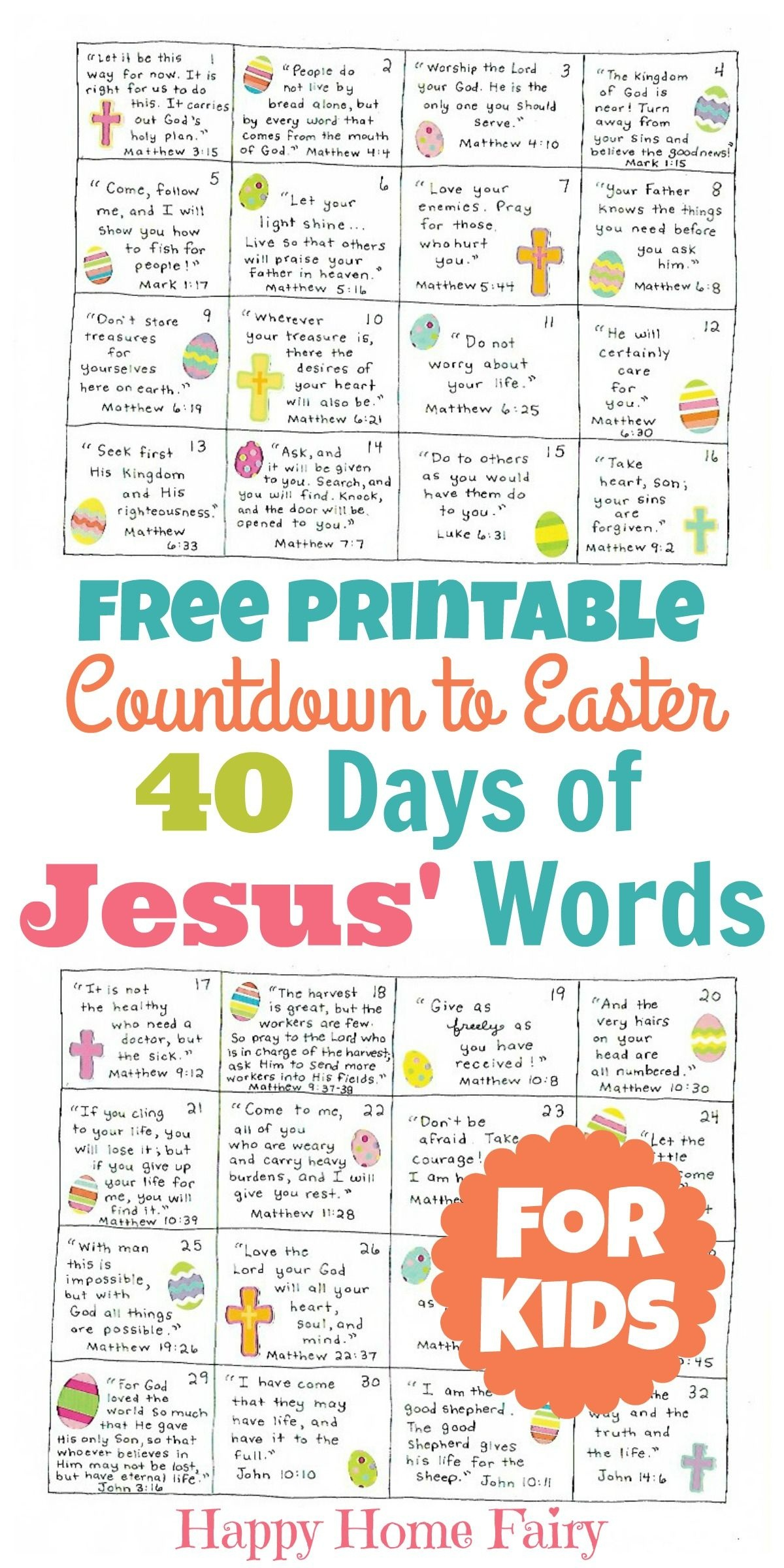 Countdown To Easter - 40 Days Of Jesus' Words For Kids (Free - Free Printable Bible Verses For Children