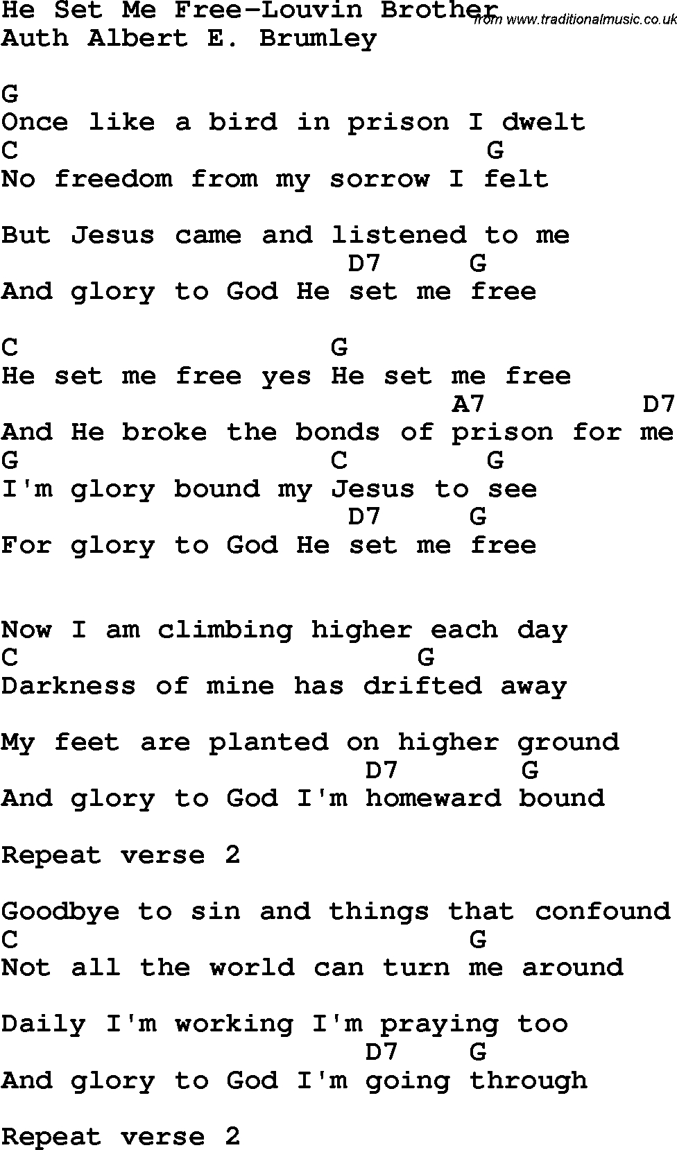 Country, Southern And Bluegrass Gospel Song He Set Me Free-Louvin - Gospel Song Lyrics Free Printable