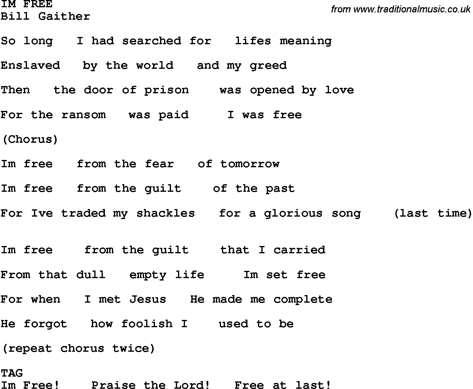 Country, Southern And Bluegrass Gospel Song Im Free Lyrics - Gospel Song Lyrics Free Printable
