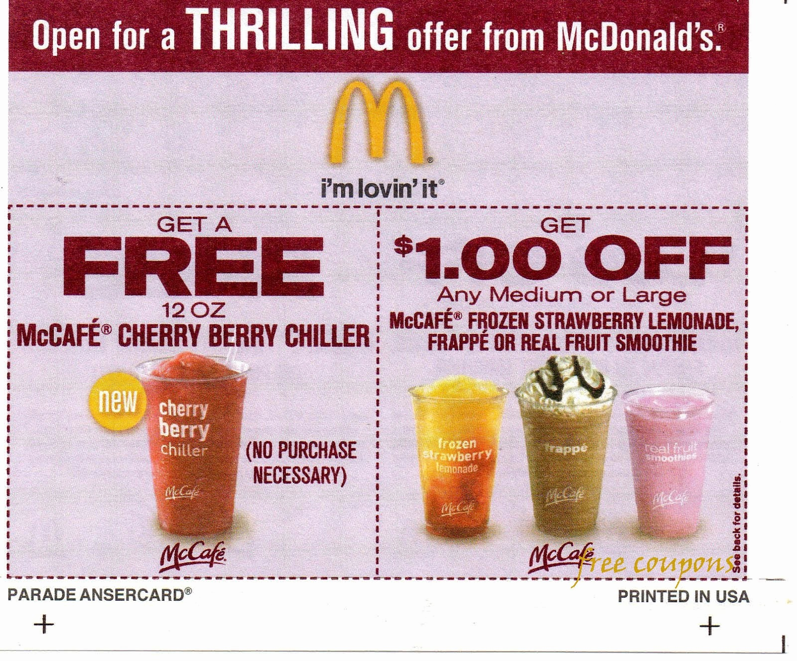 Coupons Printable And Mcdonalds Bogo Mcafe Coupon – Rtrs.online - Free Mcdonalds Smoothie Printable Coupon