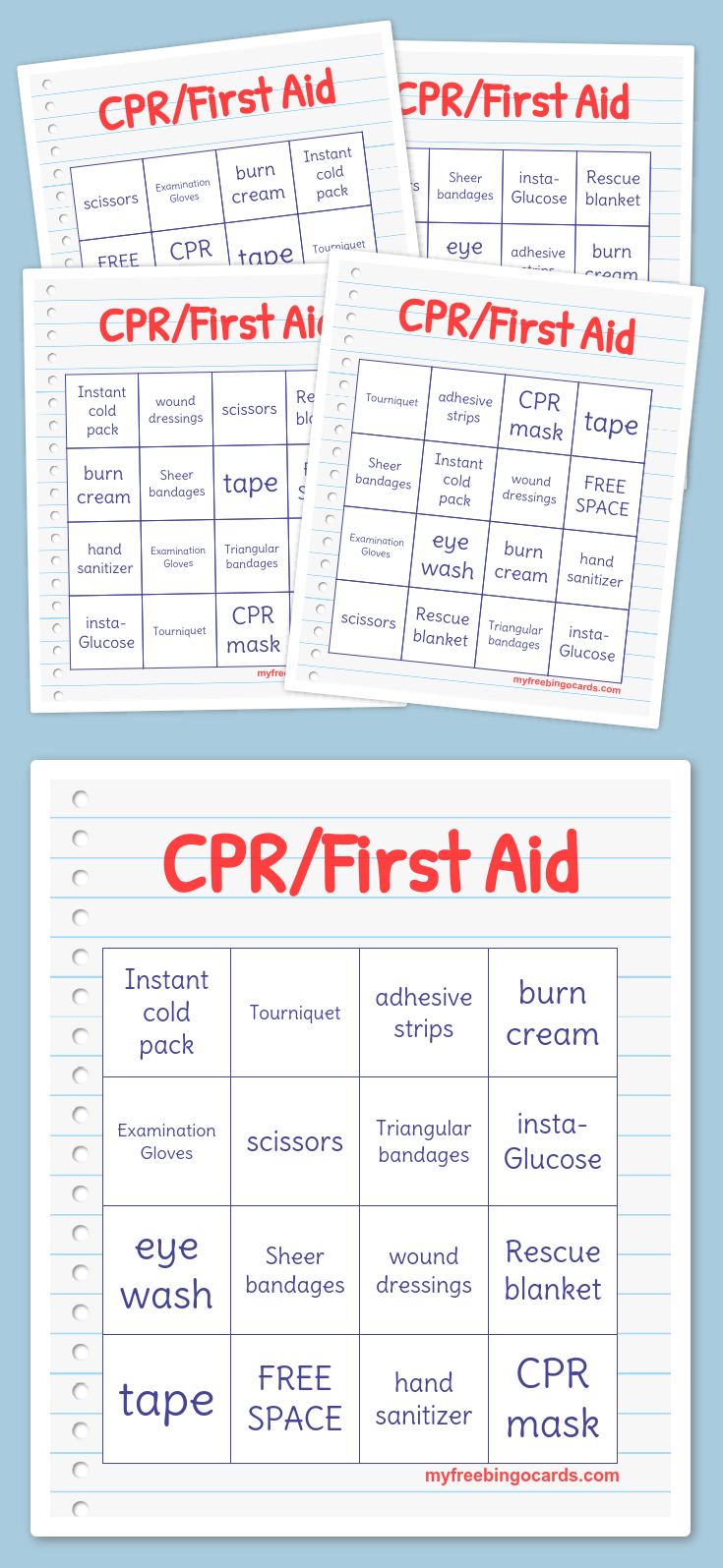 Cpr/first Aid Bingo | Daisies | Free Bingo Cards, Word Bingo, Free - Free Printable Parts Of Speech Bingo