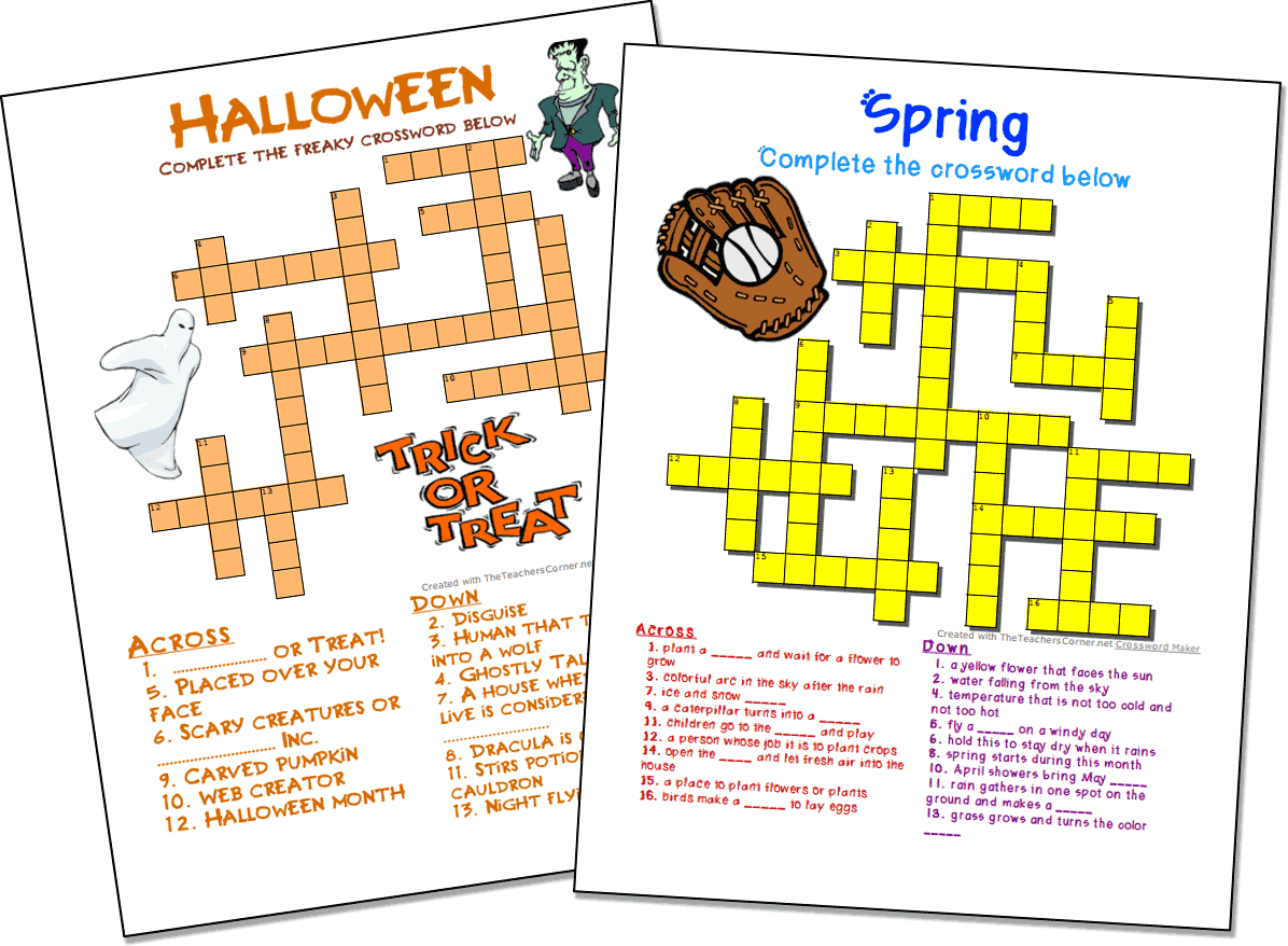 Crossword Puzzle Maker | World Famous From The Teacher's Corner - Crossword Puzzle Maker Free Printable With Answer Key