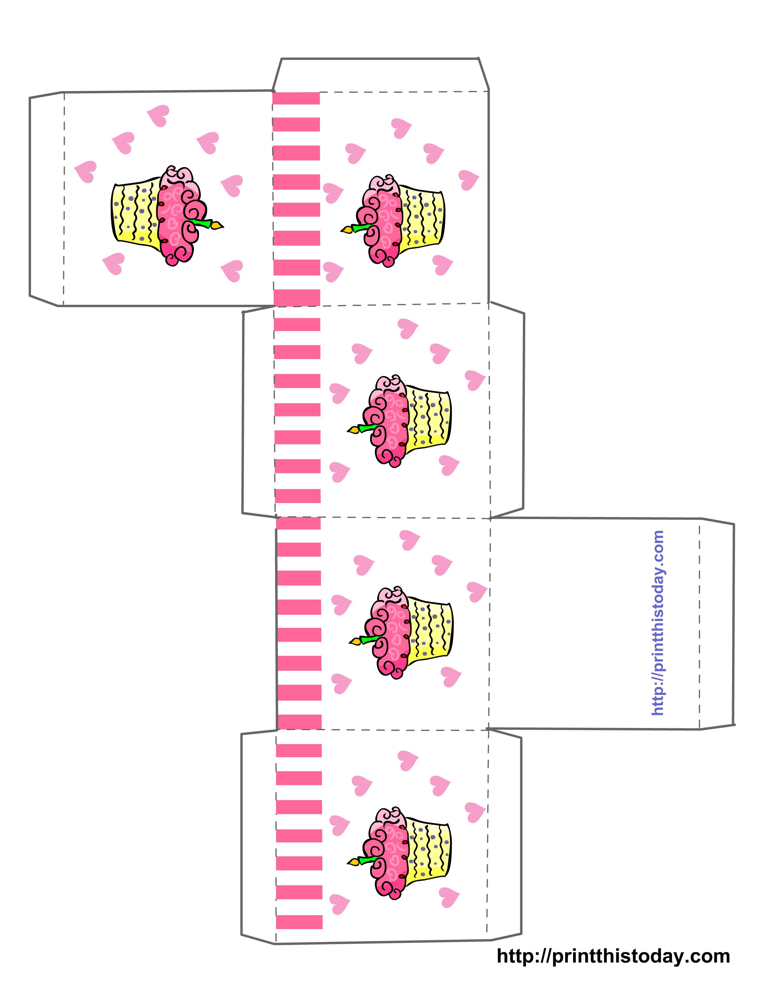 Cupcake Boxes Template Printable | Free Printable Birthday Favor - Free Printable Box Patterns
