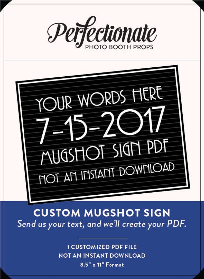 Customized Gatsby Mugshot Sign Pdf You Provide Your Text And | Etsy - Printable Mugshot Sign Free