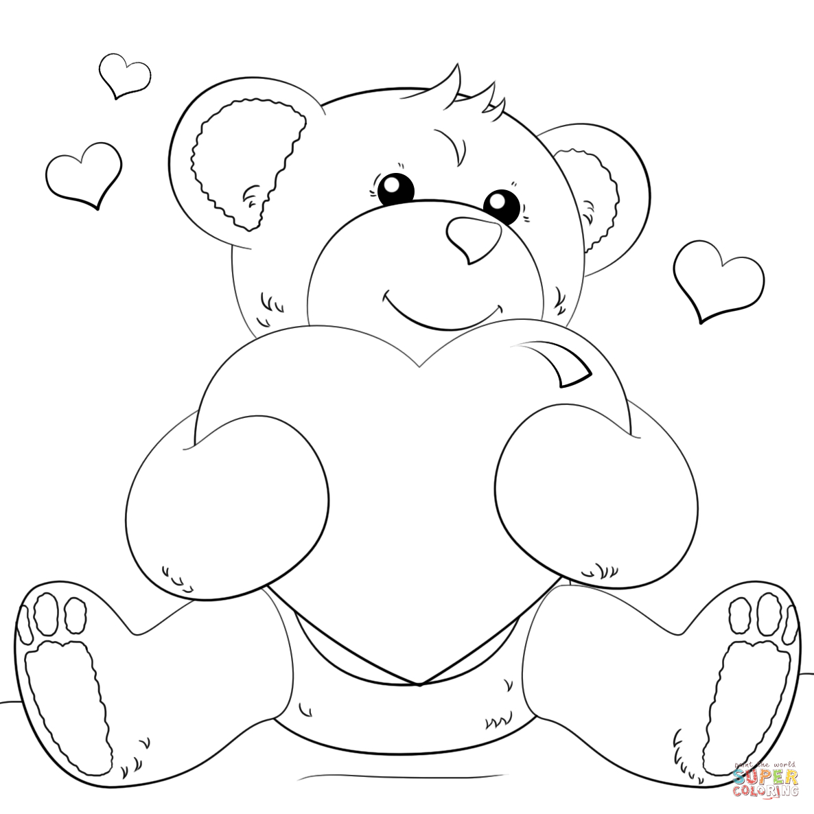 Cute Bear With Heart Coloring Page | Free Printable Coloring Pages - Teddy Bear Coloring Pages Free Printable