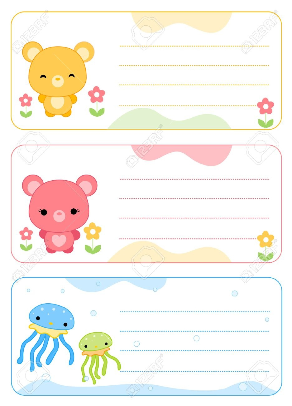 Cute Printable Name Tags / Name Cards For Kids Illustration Isolated - Free Printable Name Labels For Kids