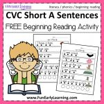 Cvc Short A Sentences   Beginning Reading And Phonemic Awareness   Free Printable Cvc Words With Pictures