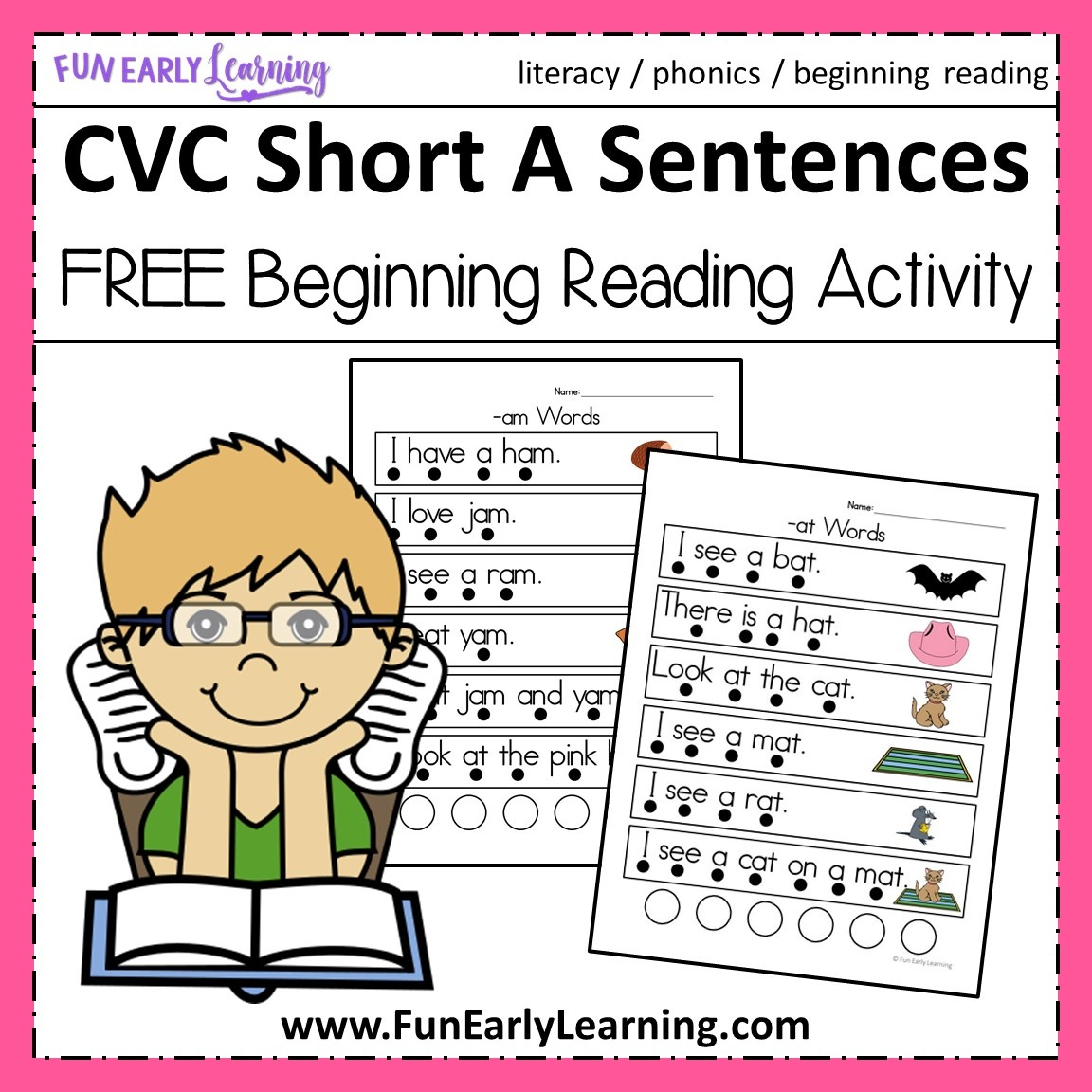Cvc Short A Sentences - Beginning Reading And Phonemic Awareness - Free Printable Cvc Words With Pictures